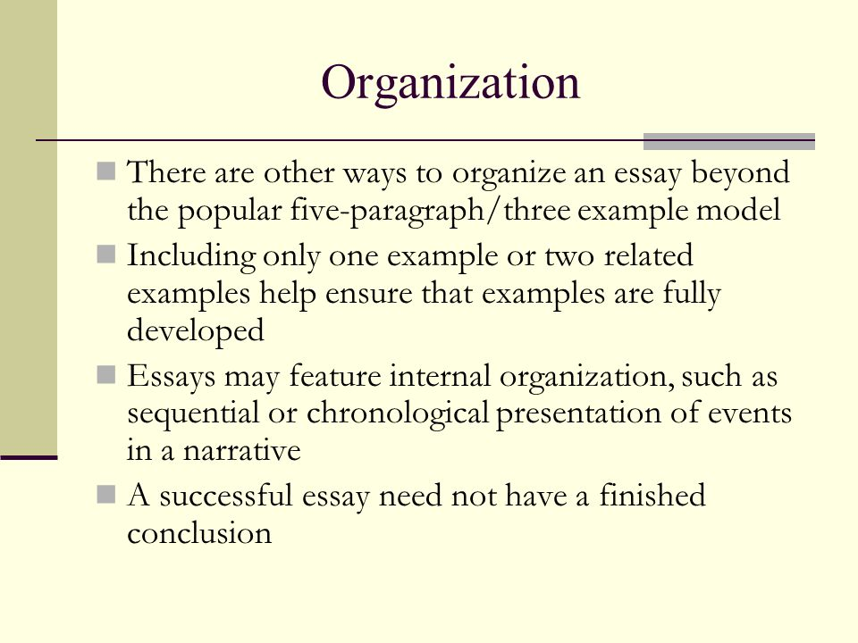 3 methods of organizing essays The organization of an essay  this method of organizing may vary slightly depending on the specific type of essay that you are writing    title of essay.