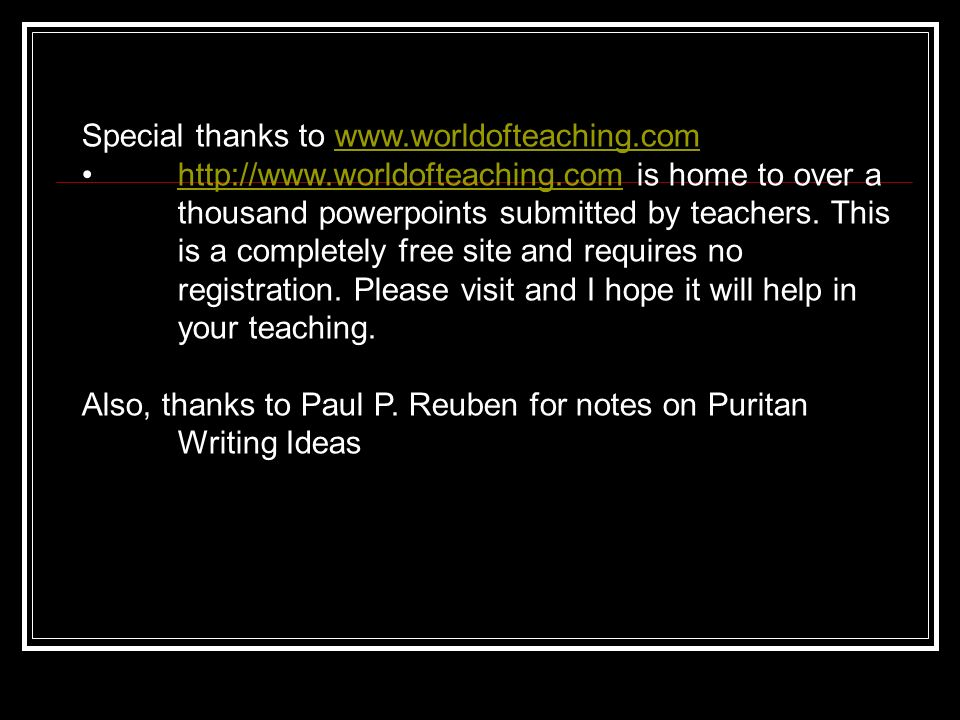 Special thanks to www.worldofteaching.com