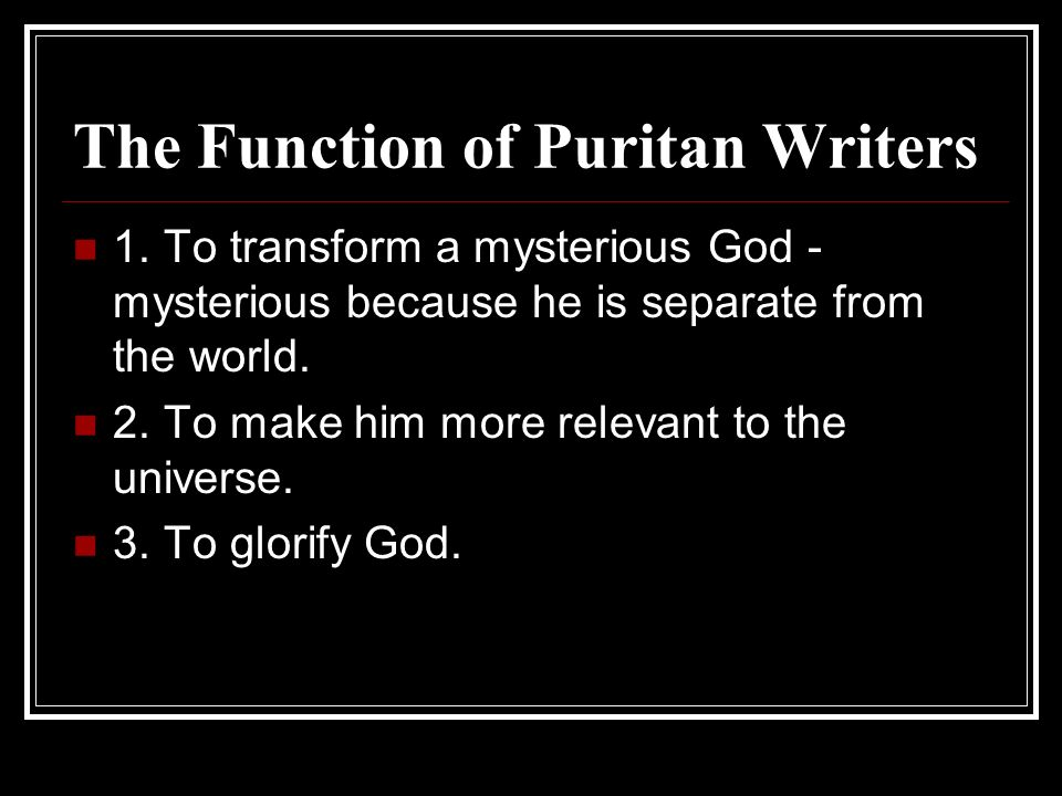 The Function of Puritan Writers