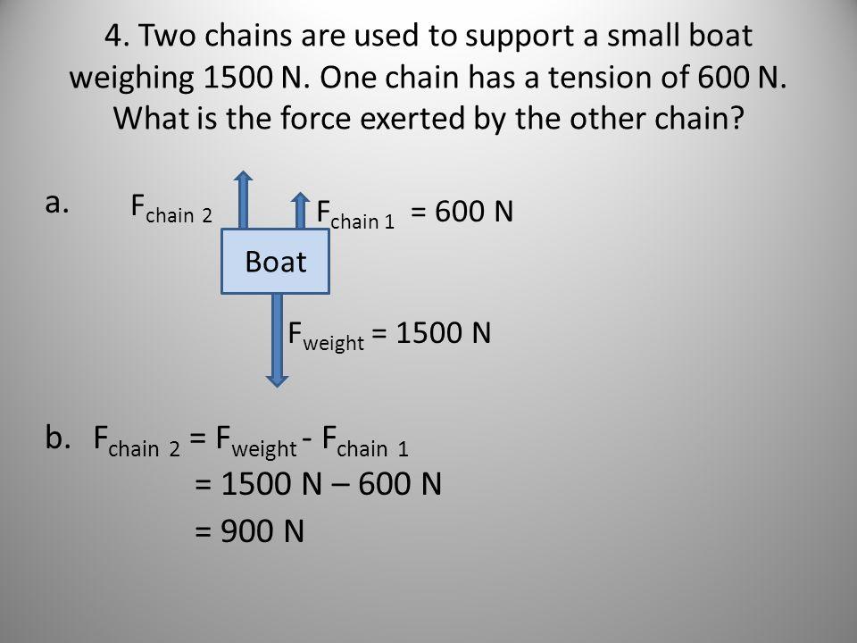 Fchain 2 = Fweight - Fchain 1 = 1500 N – 600 N = 900 N