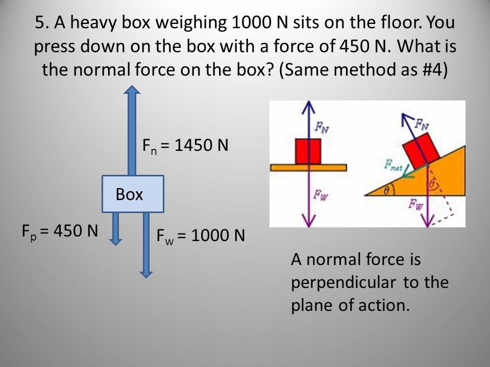 5. A heavy box weighing 1000 N sits on the floor