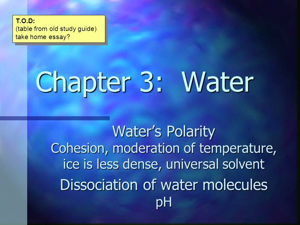 Dissociation of water molecules pH