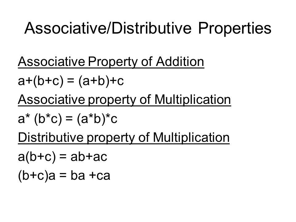 Associative/Distributive Properties