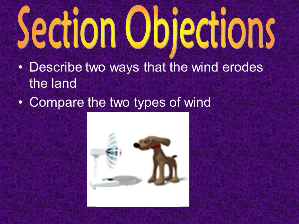 Section Objections Describe two ways that the wind erodes the land