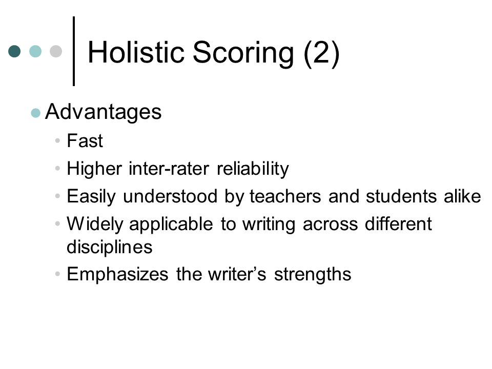 reliability of holistic scoring for the mcat essay Guidelines for scoring essay questions include the following (gronlund & linn, 1990 mcmillan, 2001 wiggins, 1998 worthen, et al, 1993 writing and grading essay questions, 1990): outline what constitutes an expected answer select an appropriate scoring method based on the criteria.