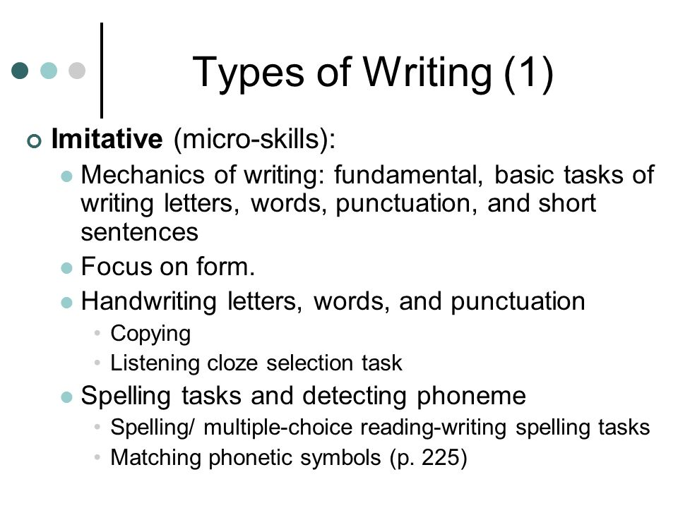 types of writing skill