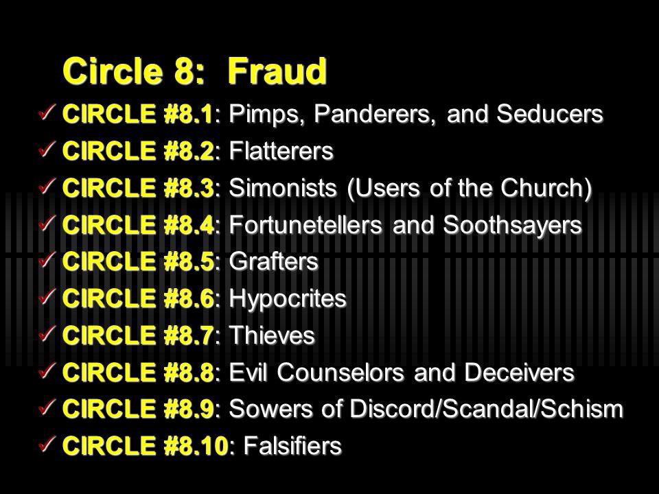 Circle 8: Fraud CIRCLE #8.1: Pimps, Panderers, and Seducers. CIRCLE #8.2: Flatterers. CIRCLE #8.3: Simonists (Users of the Church)
