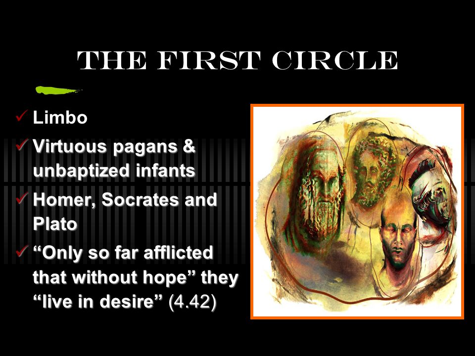 The First Circle Limbo Virtuous pagans & unbaptized infants