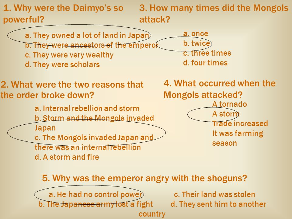 1. Why were the Daimyo's so powerful