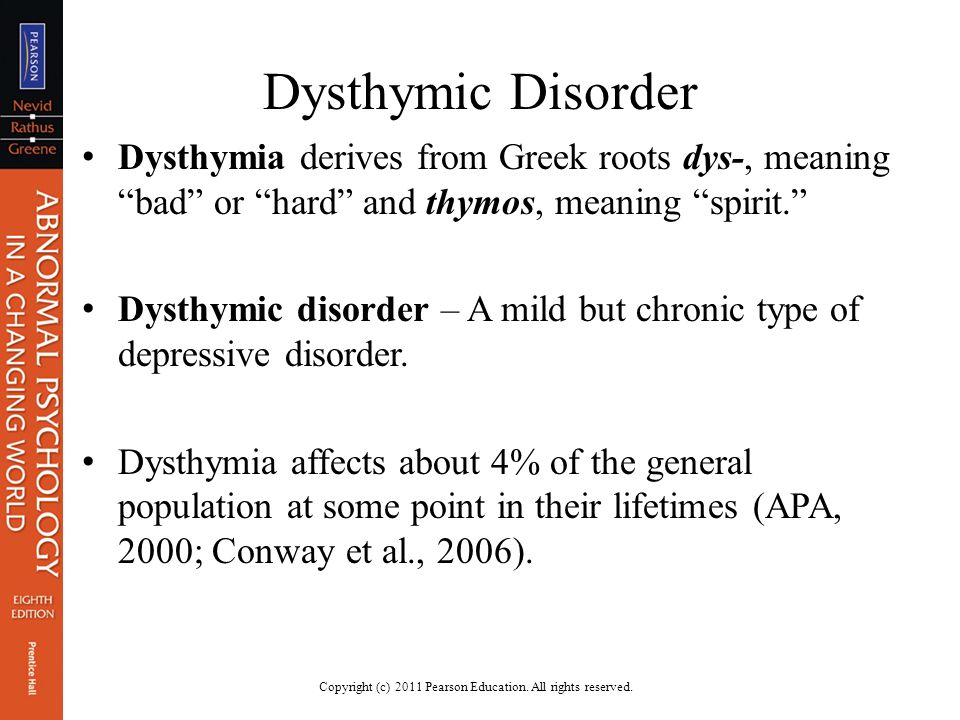 "dysthymic disorder Q and a about dysthymic disorder (chronic depression) [for a pdf file of this material, click here] "" over the past few decades, there has been a revolution in the."