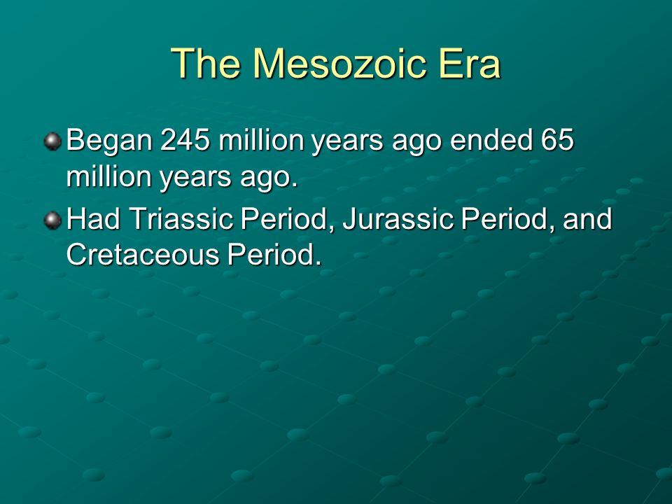 The Mesozoic Era Began 245 million years ago ended 65 million years ago.