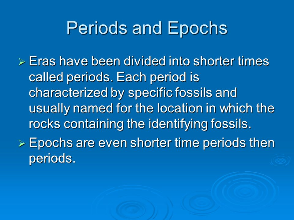 Periods and Epochs