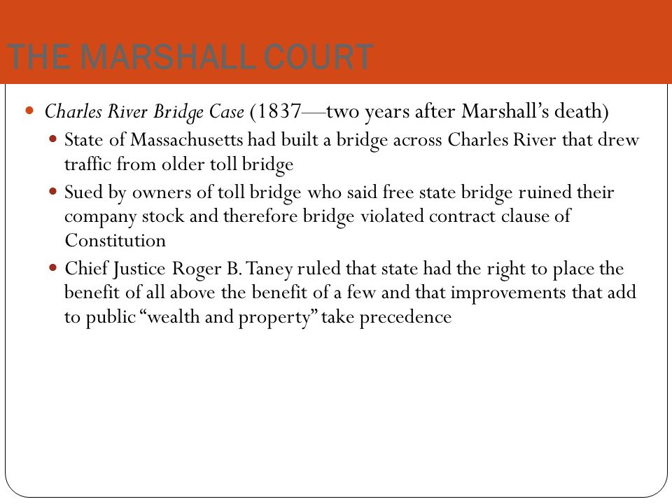 a review of the 1837 case charles river bridge vwarren bridge Review, 94 yale lj 1285, 1301 (1985) (book review) ('the commentaries were a  construed strictly, in all cases where the antecedent rights of a state  257 (1837) charles river bridge v warren bridge, 36 us (11 pet) 420 (1837.