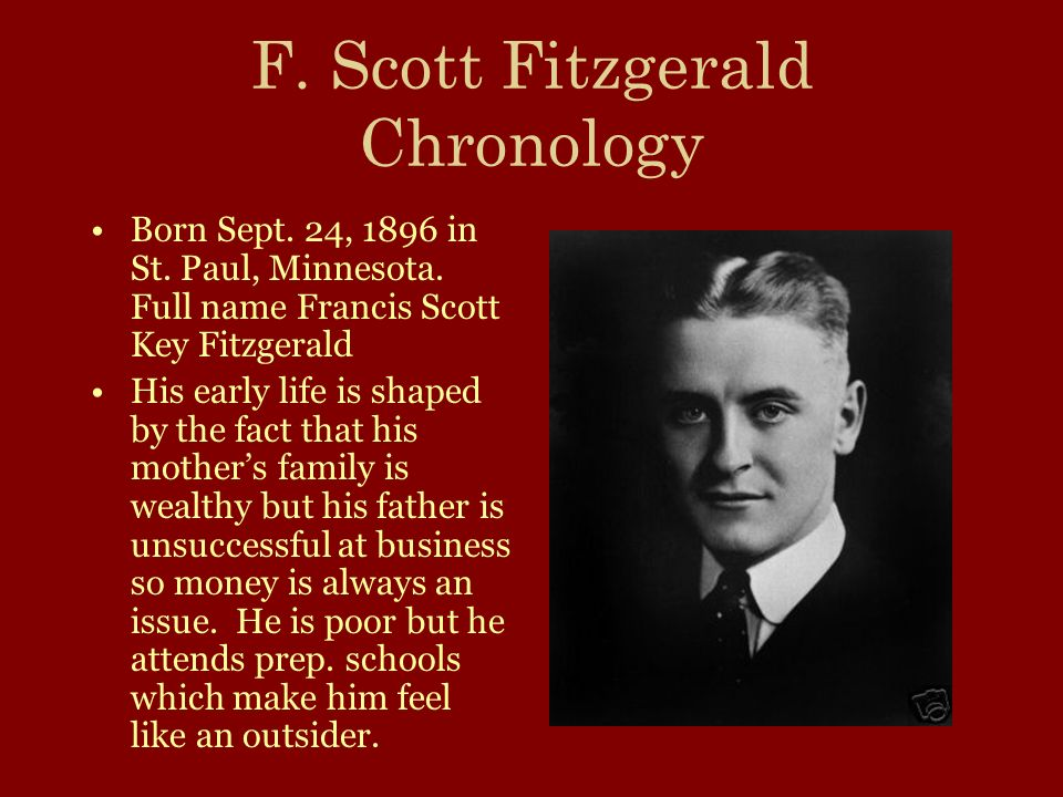 F. Scott Fitzgerald Chronology