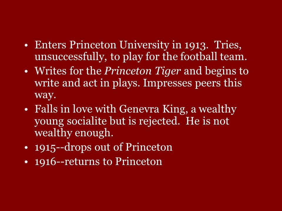 Enters Princeton University in 1913