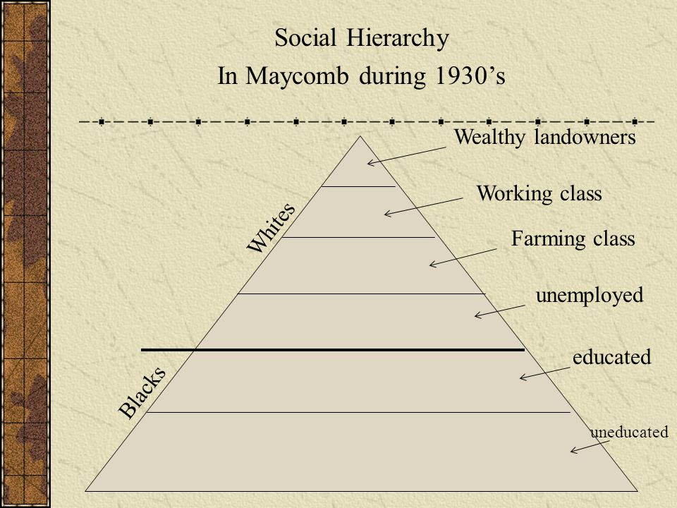 Social Hierarchy In Maycomb during 1930's Wealthy landowners