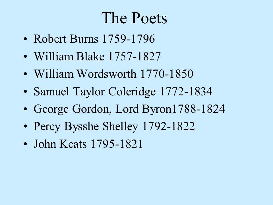 The Poets Robert Burns 1759-1796 William Blake 1757-1827