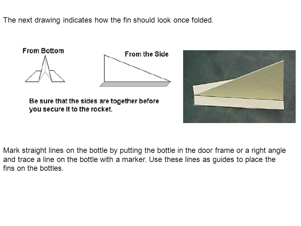 The next drawing indicates how the fin should look once folded.