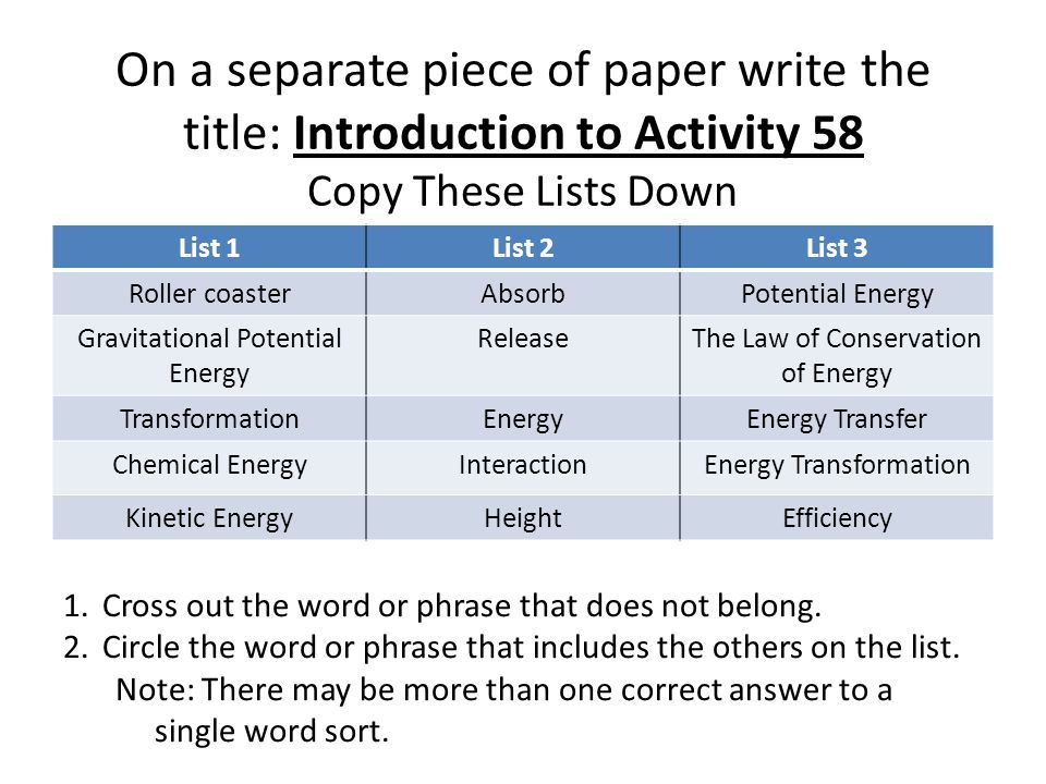 On a separate piece of paper write the title: Introduction to Activity 58