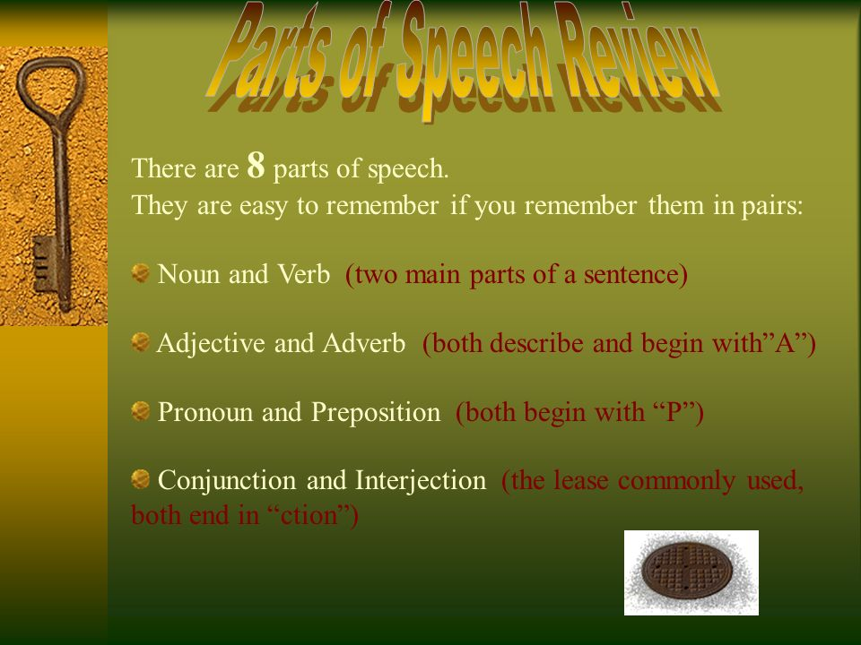 Parts of Speech Review There are 8 parts of speech.