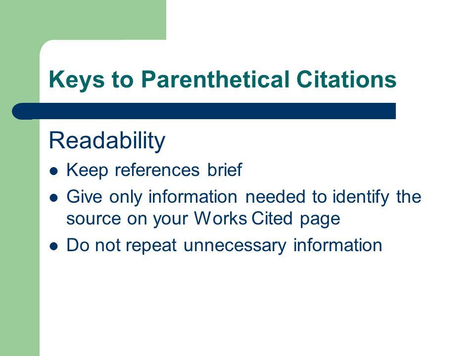 Keys to Parenthetical Citations