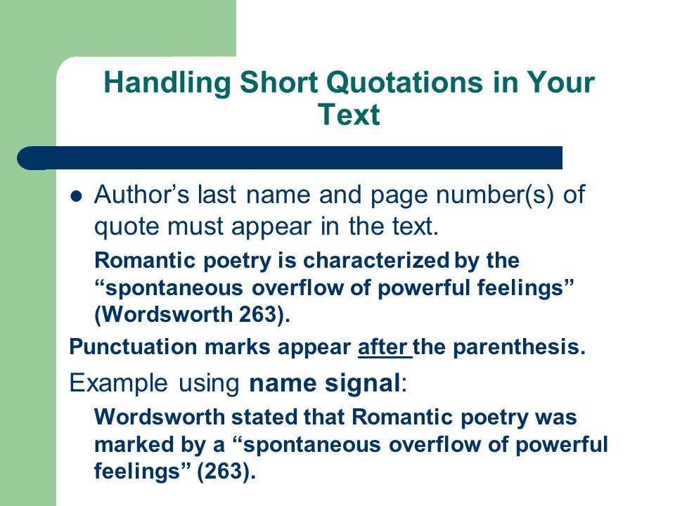 Handling Short Quotations in Your Text