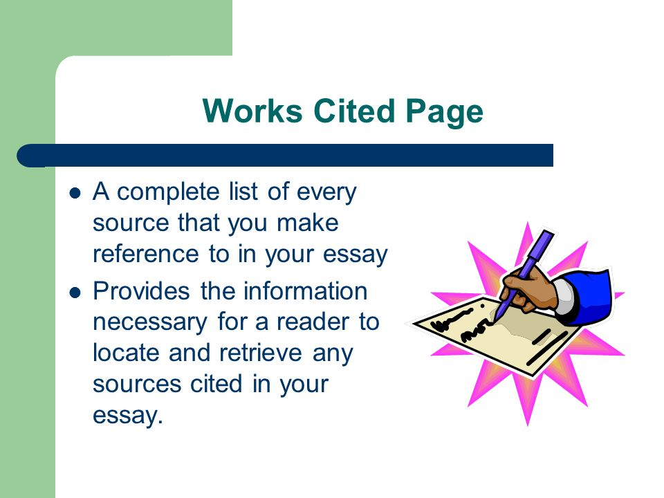 Literacy complete with works cited page essay