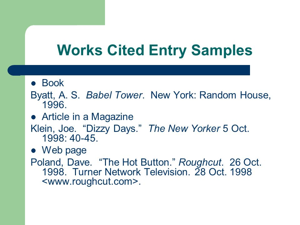 Works Cited Entry Samples