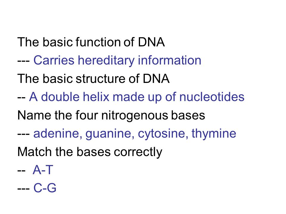 The basic function of DNA