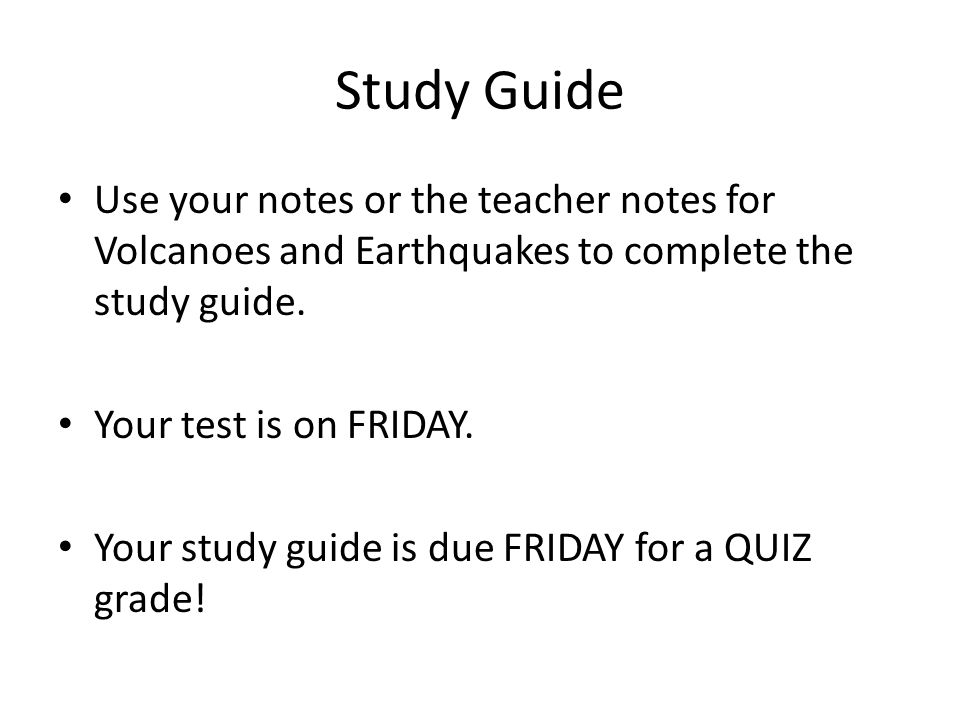 Plate Tectonics, Earthquakes, and Volcanoes STudy guide answer key
