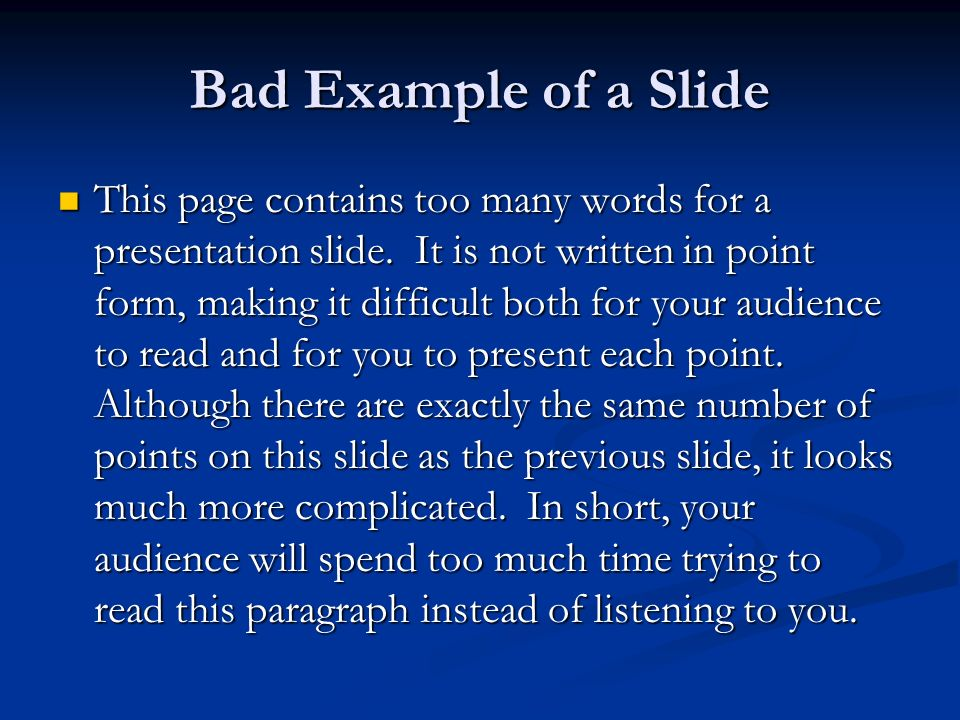Bad Example of a Slide
