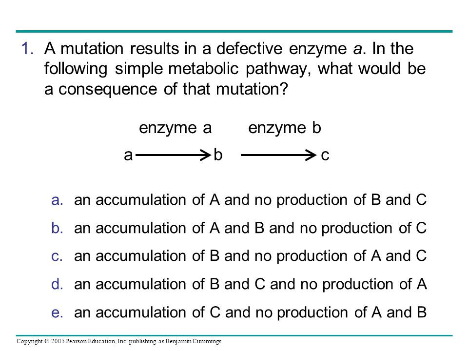 A mutation results in a defective enzyme a. In the following simple metabolic pathway, what would be a consequence of that mutation