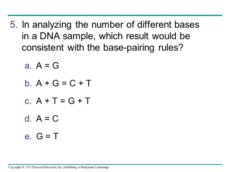 In analyzing the number of different bases in a DNA sample, which result would be consistent with the base-pairing rules