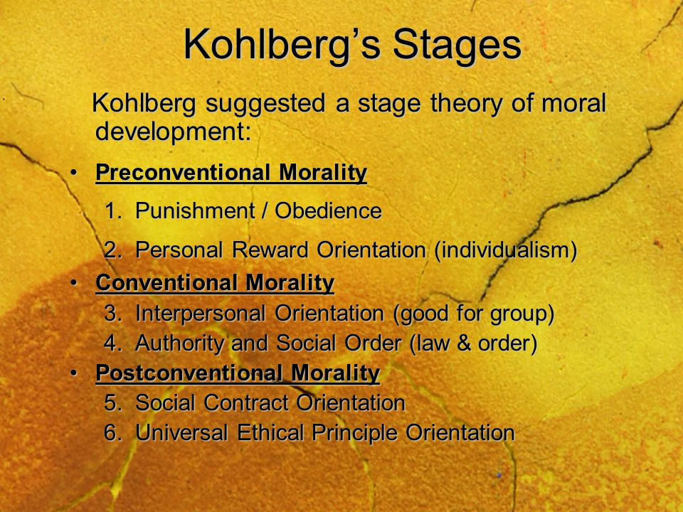 Kohlberg's Stages Kohlberg suggested a stage theory of moral development: Preconventional Morality.