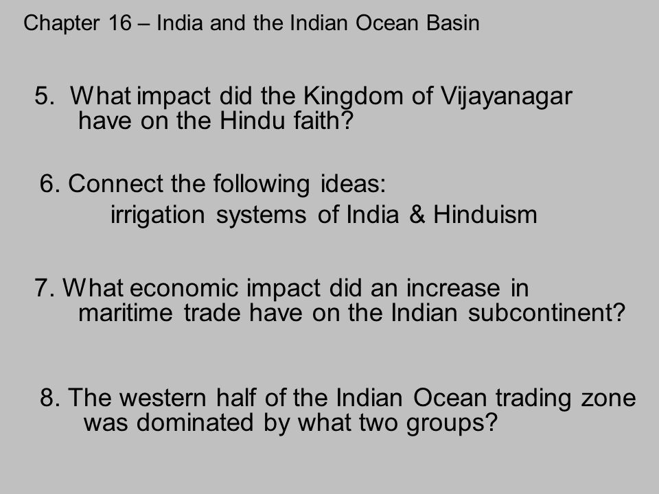 Chapter 16 – India and the Indian Ocean Basin