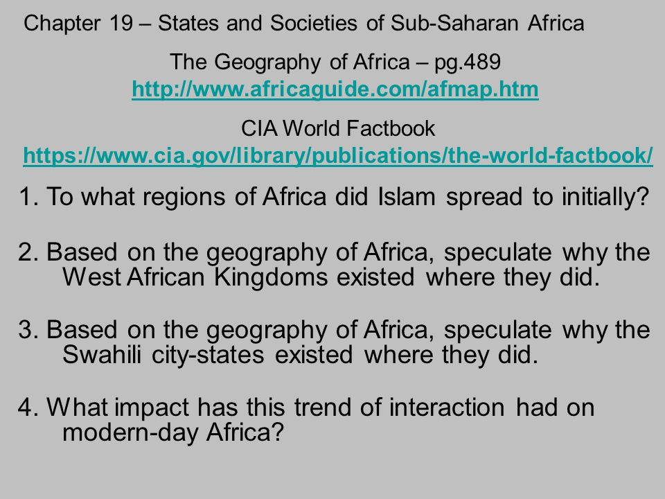 Chapter 19 – States and Societies of Sub-Saharan Africa