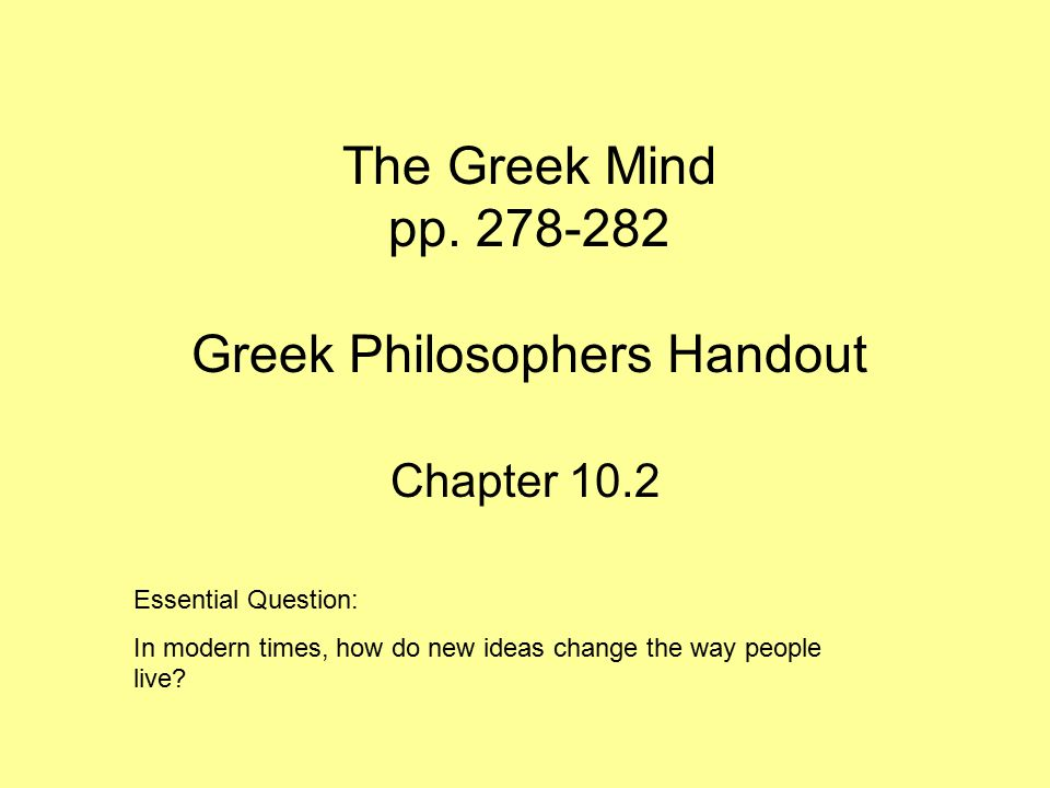 the greek mind pp greek philosophers handout - ppt video online, Powerpoint templates