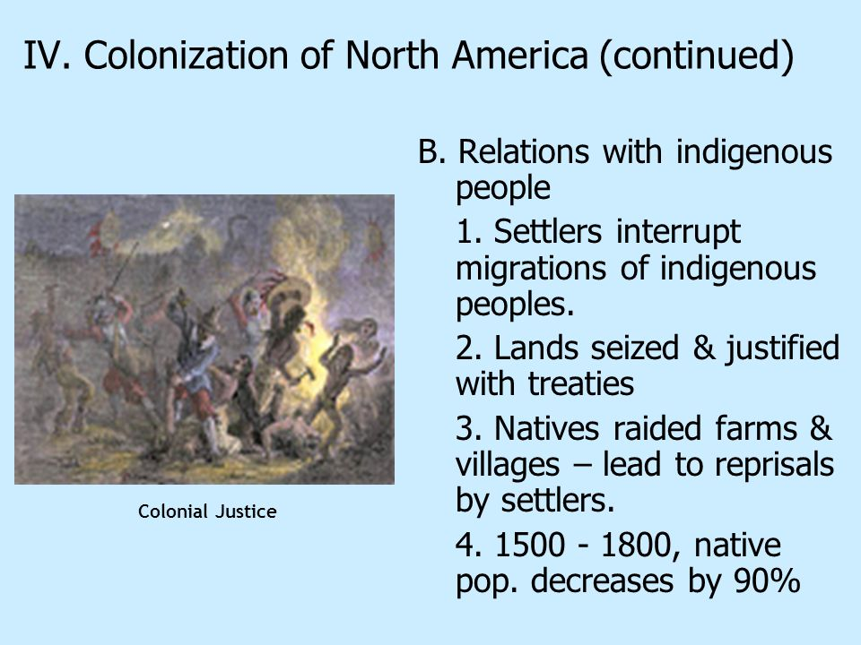 IV. Colonization of North America (continued)