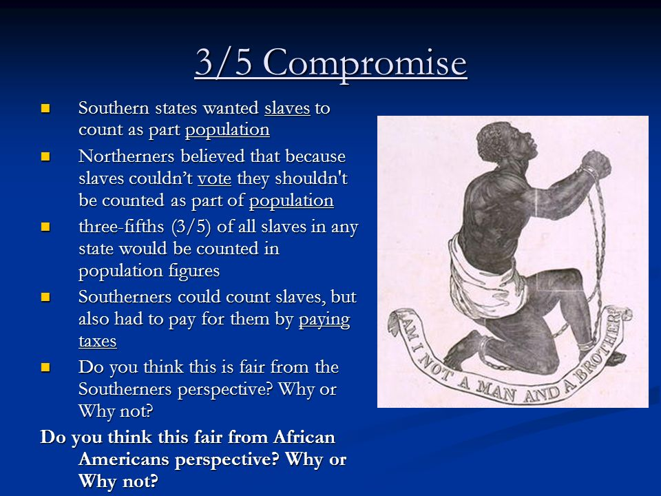 3/5 Compromise Southern states wanted slaves to count as part population.