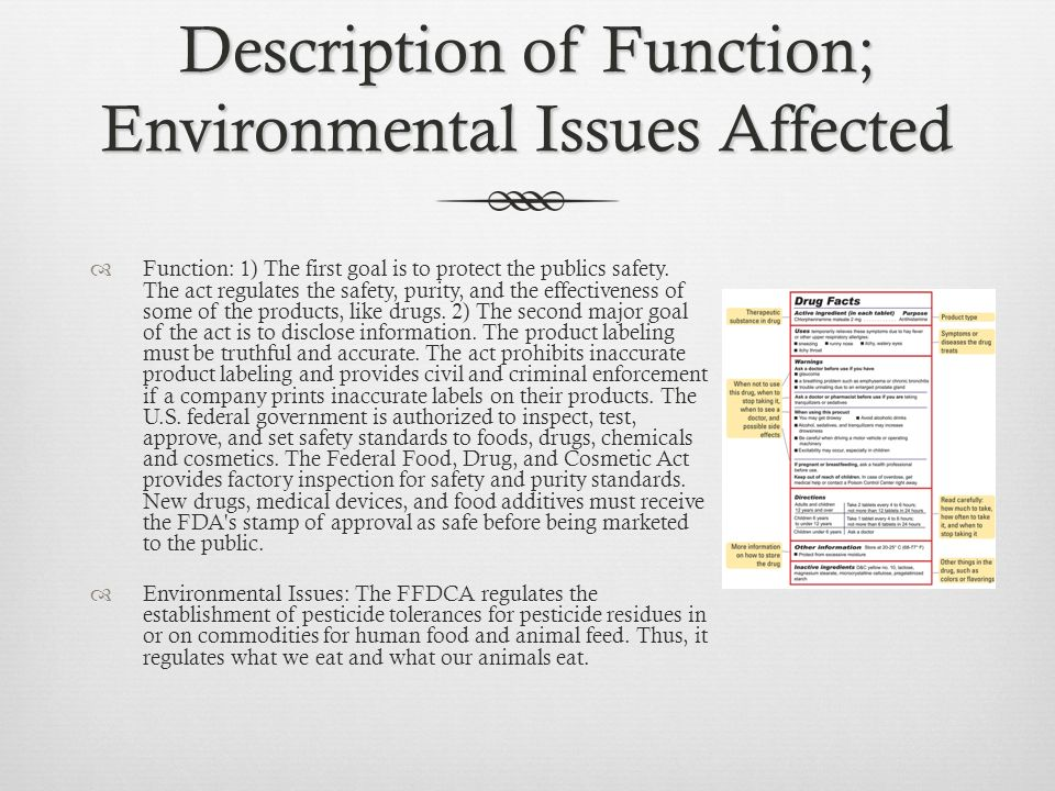 Description of Function; Environmental Issues Affected