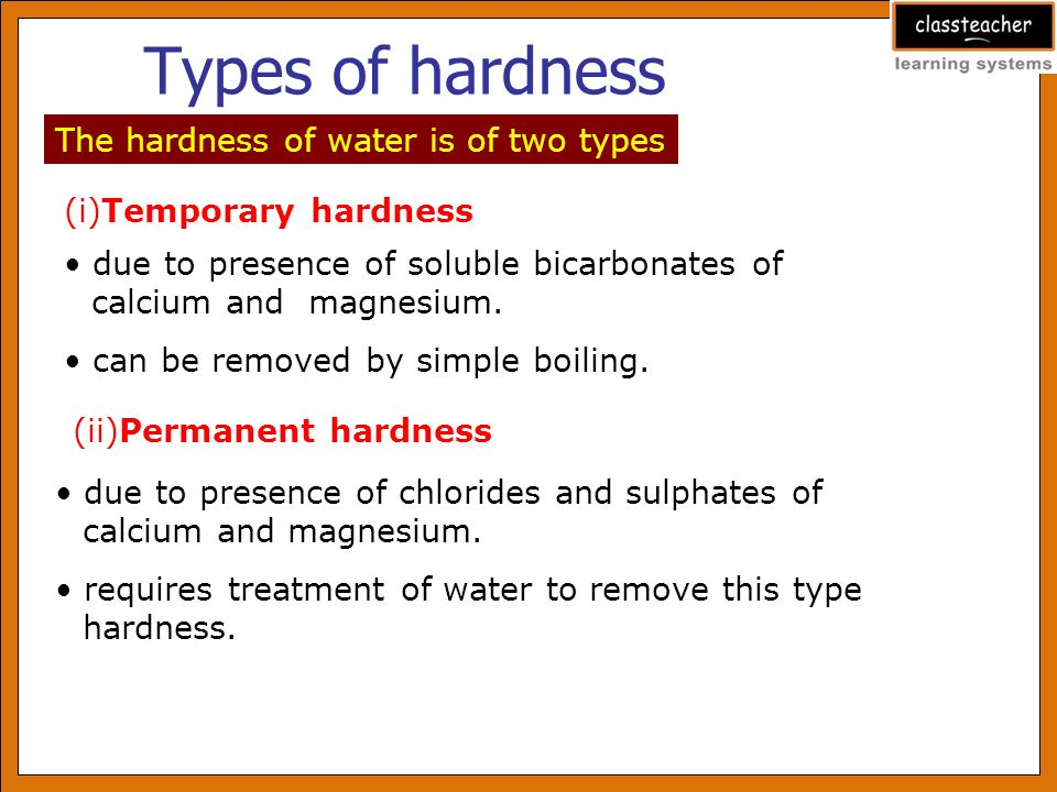 Permanent water hardness of water sources