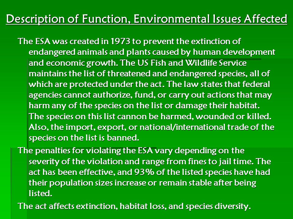 Description of Function, Environmental Issues Affected
