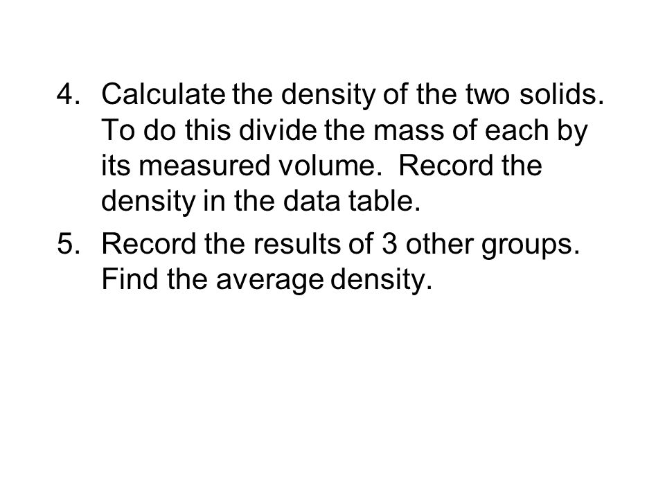 Calculate the density of the two solids