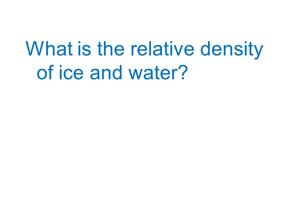 What is the relative density of ice and water