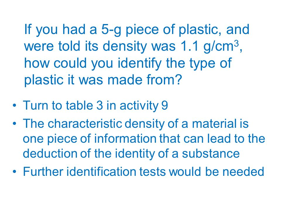 If you had a 5-g piece of plastic, and were told its density was 1