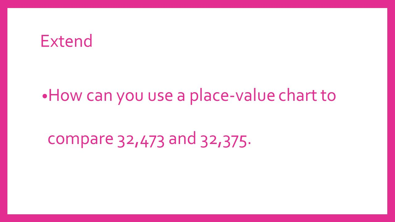 Topic 3 place value ppt video online download 53 extend how can you use a place value chart to compare 32473 and 32375 nvjuhfo Images