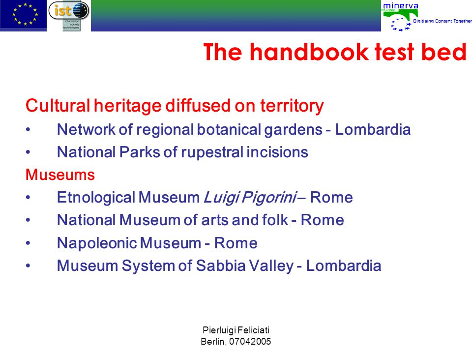 The handbook test bed Cultural heritage diffused on territory