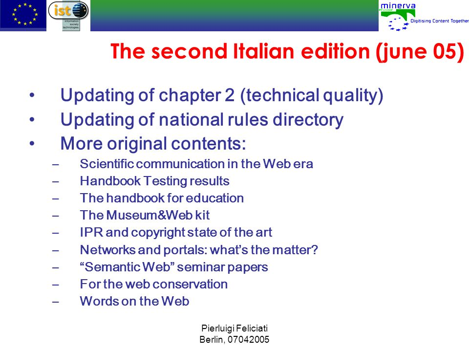 The second Italian edition (june 05)