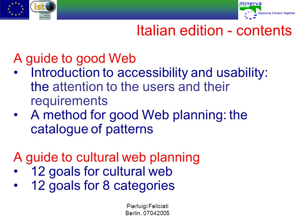 Italian edition - contents
