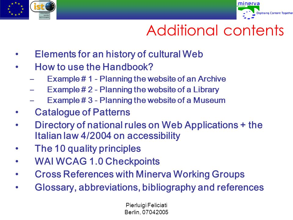 Additional contents Elements for an history of cultural Web